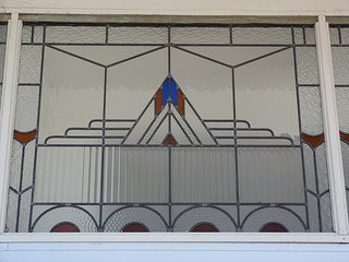 One of the Art Deco windows at Moruya's CBA
