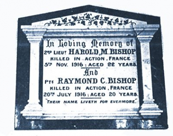 This marble memorial is to Second-Lieutenant Harold M. Bishop and Private Raymond C. Bishop