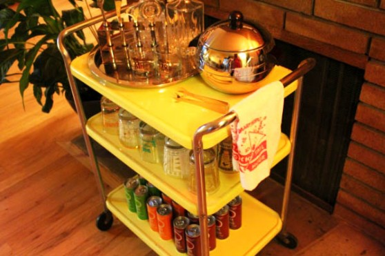 The classy drinks trolley has been organised