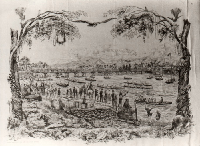 This early regatta was held in 1870 = just after the first bridge was opened.