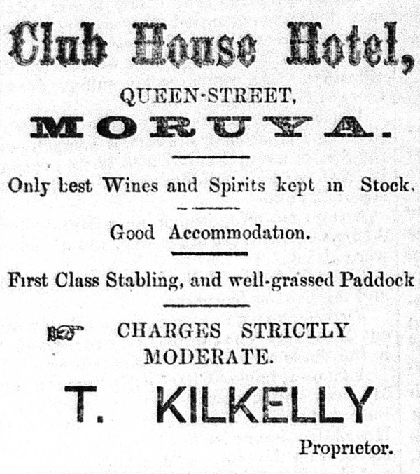 An early advertisement for the Club House Hotel from the Moruya Examiner.