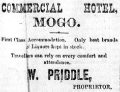 Advertisement for the Commercial Hotel, Mogo  in the Moruya Examiner.