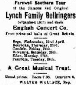 The Bega Budget 18 April, 1914. The Lynch Bellringers continued on their South Coast Fatewell tour after performing at Moruya.