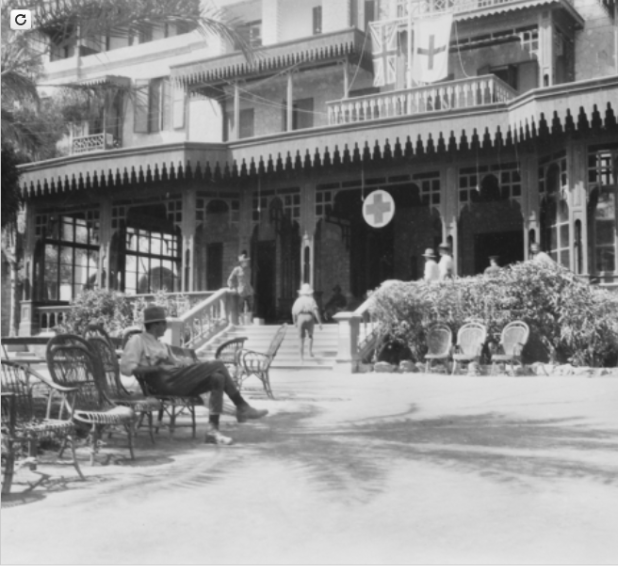 Mena, Egypt. c. 1915. The Mena Hotel which was close to Mena Army Camp and the Pyramids. The hotel was converted to house No 2 Australian Army General Hospital and No 2 Australian Army Stationary Hospital.